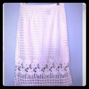 Aqua white crochet/cotton mid length skirt